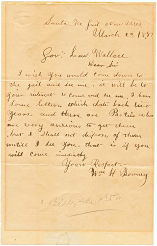 Billy the kid letter to lew wallace 03 29 1881